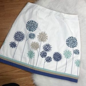 Boden 10P White Floral Embroidered Pencil Skirt